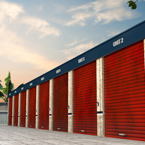 storage unit exterior outside red-metal